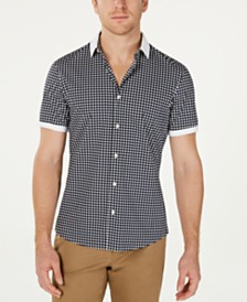 Michael Kors Men's Slim-Fit Stretch Dot-Print Shirt