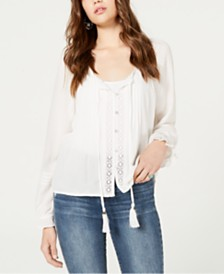 American Rag Juniors' Crochet-Trim Peasant Top, Created for Macy's
