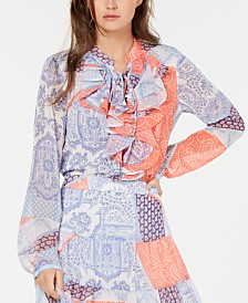 Tommy Hilfiger Ruffled Patchwork-Print Top