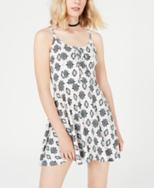 American Rag Juniors' Printed Lace-Up Fit & Flare Dress, Created for Macy's