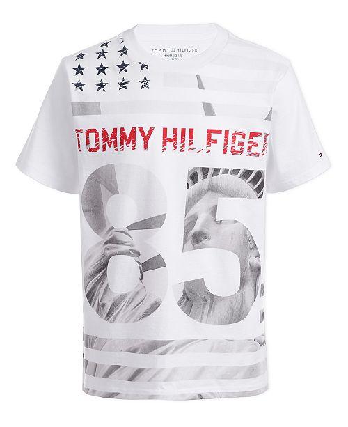 Tommy Hilfiger Little Boys Statue Of Liberty Star & Stripe Logo T-Shirt