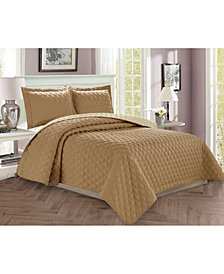 Elegant Comfort Luxury 3-Piece Bedspread Coverlet Diamond Design Quilted Set with Shams - King/California King