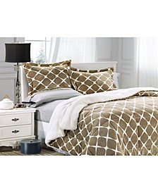Softest, Coziest Premium Quality Heavy Weight Bloomingdale Pattern Micromink Sherpa - Backing Reversible Down Alternative Micro - Suede 2-Piece Comforter Set King
