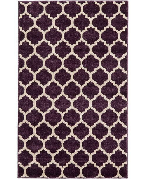 "Bridgeport Home Arbor Arb1 Purple 3' 3"" x 5' 3"" Area Rug"