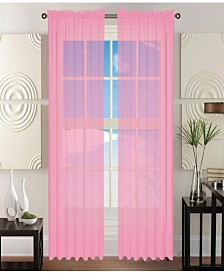 """Elegant Comfort 2 Piece Solid Sheer Panel with Rod Pocket - Window Curtain 40"""" Width x 84"""" Length"""