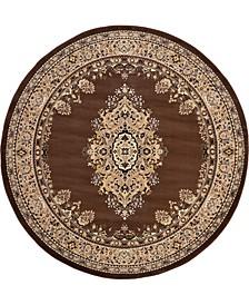 Birsu Bir1 Brown 8' x 8' Round Area Rug
