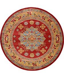Bridgeport Home Harik Har1 Red 8' x 8' Round Area Rug