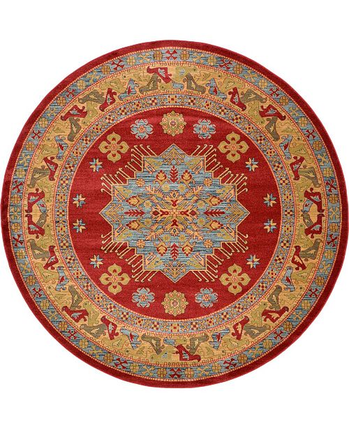 Bridgeport Home Harik Har1 Red 8' x 8' Round Area Rug