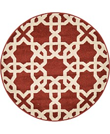 """Bridgeport Home Arbor Arb5 Dark Terracotta 3' 3"""" x 3' 3"""" Round Area Rug"""