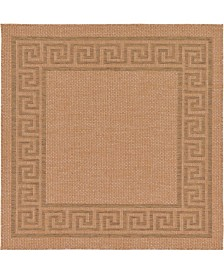 Bridgeport Home Pashio Pas6 Light Brown 6' x 6' Square Area Rug