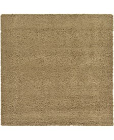"Exact Shag Exs1 Sandy Brown 8' 2"" x 8' 2"" Square Area Rug"