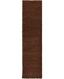 "Exact Shag Exs1 Chocolate Brown 2' 6"" x 10' Runner Area Rug"