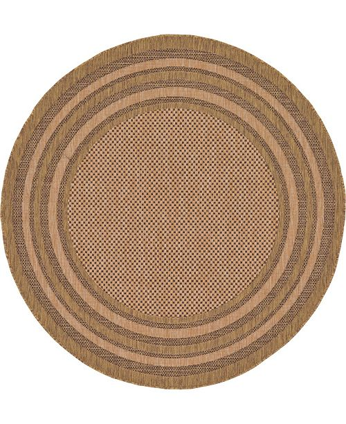 Bridgeport Home Pashio Pas6 Brown 6' x 6' Round Area Rug