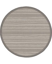 Pashio Pas4 Gray 6' x 6' Round Area Rug