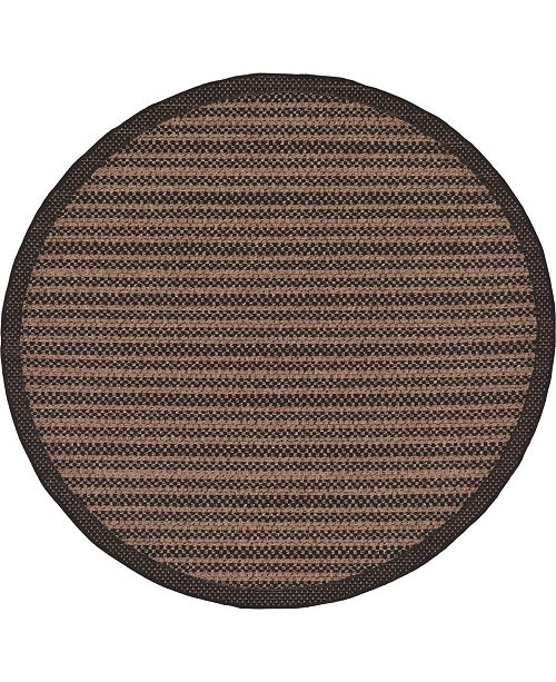 Bridgeport Home Pashio Pas6 Black 6' x 6' Round Area Rug