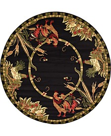 Roost Roo1 Black 8' x 8' Round Area Rug