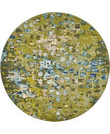 Bridgeport Home Adah Ada1 Green 6' x 6' Round Area Rug