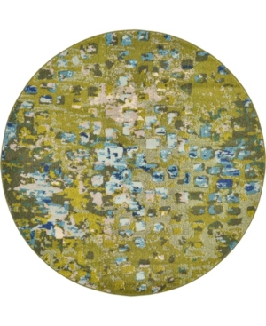 Bridgeport Home Adah Ada1 Green 6' x 6' Round Area Rug