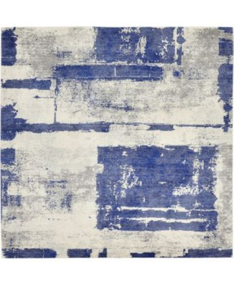 "Wisdom Wis4 Navy Blue 8' 4"" x 8' 4"" Square Area Rug"