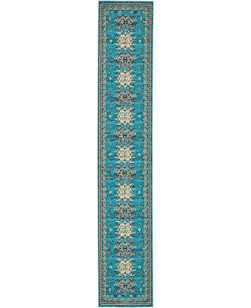 "Bridgeport Home Charvi Chr1 Turquoise 3' x 16' 5"" Runner Area Rug"