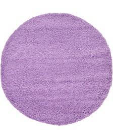 Exact Shag Exs1 Lilac 6' x 6' Round Area Rug