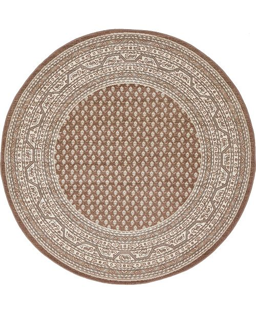 Bridgeport Home Axbridge Axb1 Brown 5' x 5' Round Area Rug