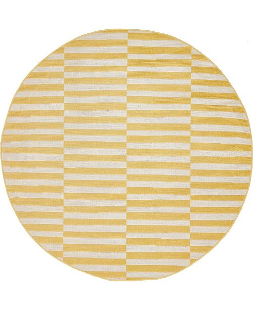 Bridgeport Home Axbridge Axb2 Yellow 5' x 5' Round Area Rug