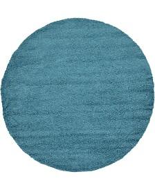 """Bridgeport Home Exact Shag Exs1 Deep Aqua Blue 8' 2"""" x 8' 2"""" Round Area Rug"""