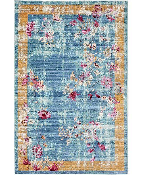Bridgeport Home Malin Mal1 Blue 5' x 8' Area Rug