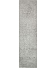 "Salon Solid Shag Sss1 Light Gray 2' 7"" x 10' Runner Area Rug"