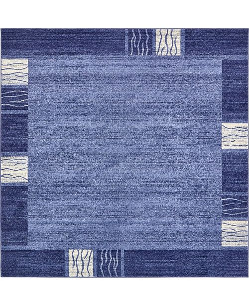 Bridgeport Home Lyon Lyo1 Navy Blue 8' x 8' Square Area Rug