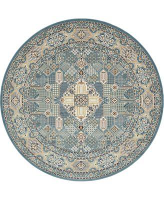 Zara Zar4 Blue 10' x 10' Round Area Rug
