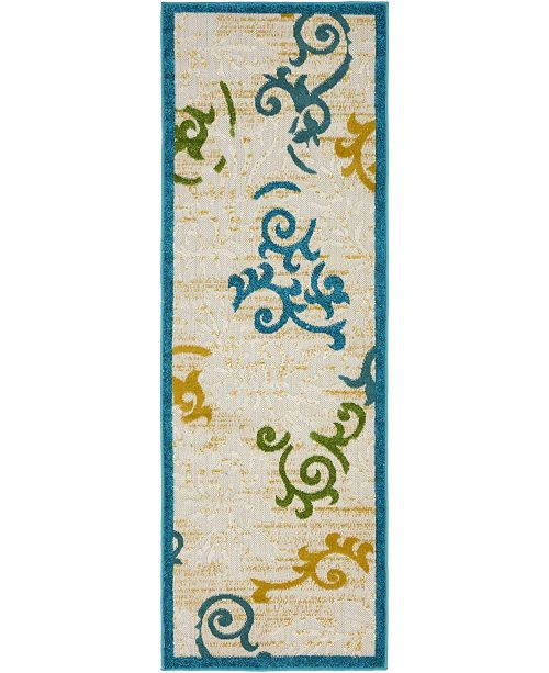 Bridgeport Home Pashio Pas3 Blue 2' x 6' Runner Area Rug