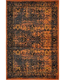 Bridgeport Home Linport Lin1 Terracotta/Black 4' x 6' Area Rug