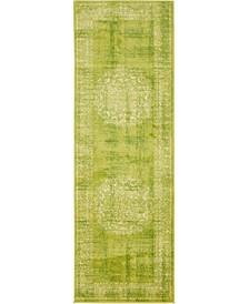 Linport Lin5 Light Green 2' x 6' Runner Area Rug