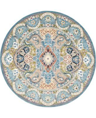 Zara Zar2 Blue 10' x 10' Round Area Rug