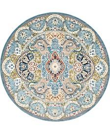 Bridgeport Home Zara Zar2 Blue 10' x 10' Round Area Rug