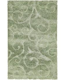 Malloway Shag Mal1 Green 5' x 8' Area Rug