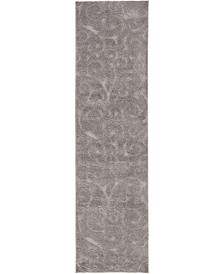 "Malloway Shag Mal1 Dark Gray 2' 7"" x 10' Runner Area Rug"