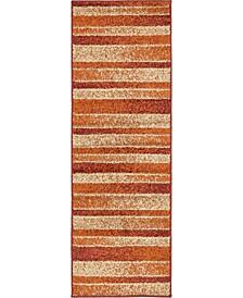 Jasia Jas12 Rust Red 2' x 6' Runner Area Rug