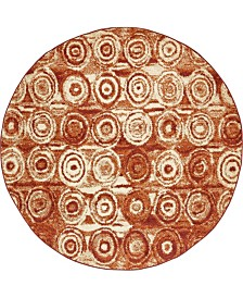 Bridgeport Home Jasia Jas02 Terracotta 8' x 8' Round Area Rug