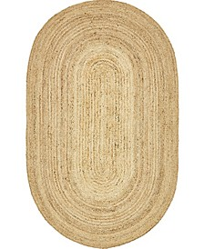 Braided Jute C Bjc5 Natural 5' x 8' Oval Area Rug