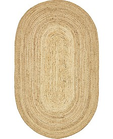 Bridgeport Home Braided Jute C Bjc5 Natural 5' x 8' Oval Area Rug
