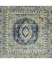 Masha Mas5 Navy Blue 6' x 6' Square Area Rug