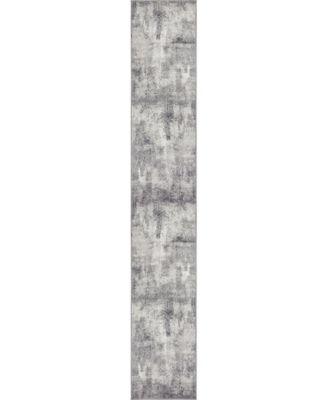 Basha Bas6 Dark Gray 2' x 13' Runner Area Rug