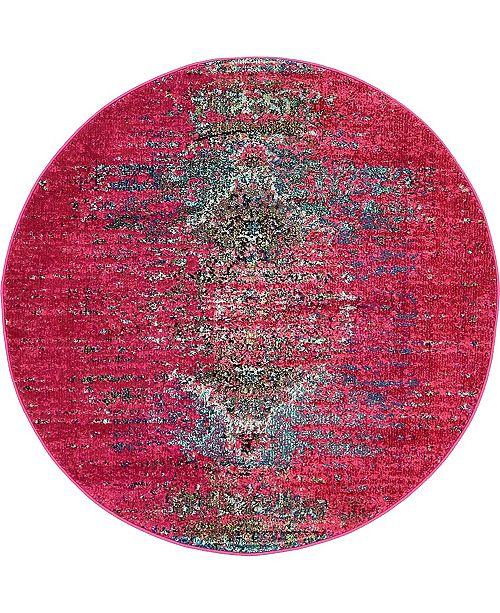 Bridgeport Home Brio Bri6 Pink 4' x 4' Round Area Rug