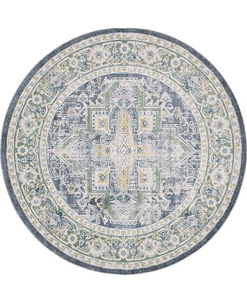 "Bridgeport Home Kenna Ken1 Blue 8' 4"" x 8' 4"" Round Area Rug"