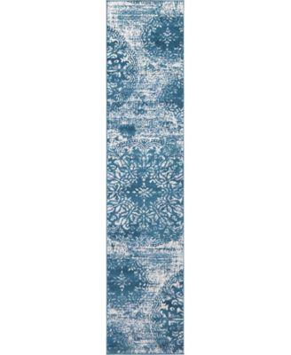 Basha Bas7 Blue 8' x 8' Square Area Rug