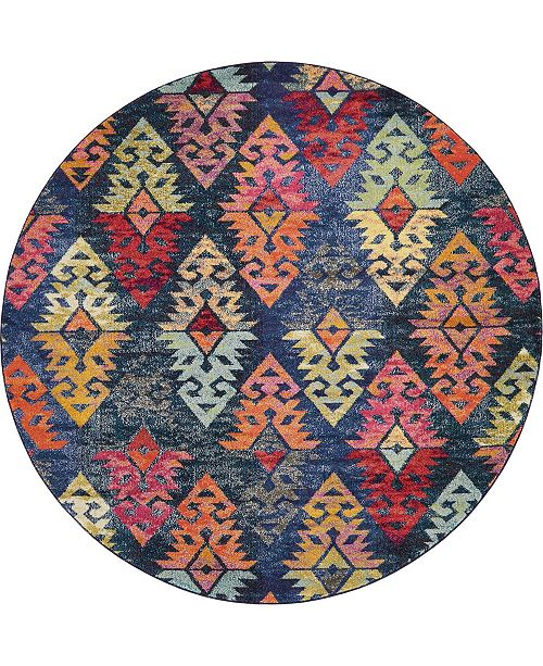 Bridgeport Home CLOSEOUT! Arcata Arc1 Navy Blue 8' x 8' Round Area Rug
