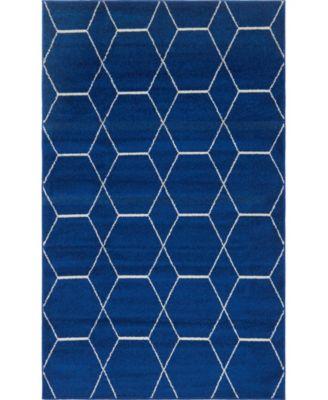 Plexity Plx1 Navy Blue 5' x 8' Area Rug